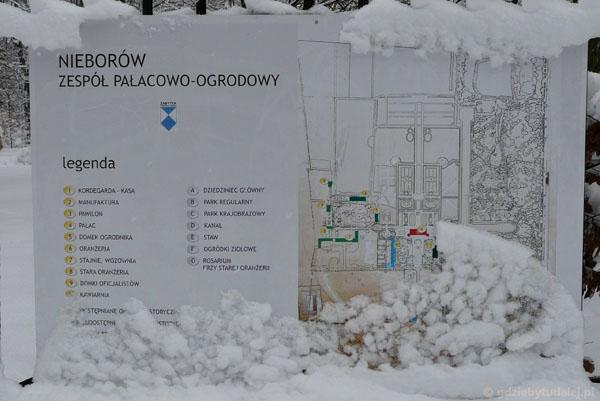 Schemat zespołu parkowo-pałacowego w Nieborowie.