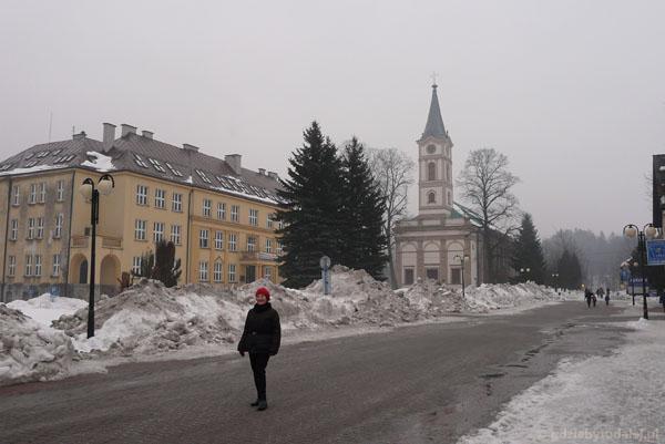 Ul. 1 Maja, kościół ewangelicki XIX w, Wisła.