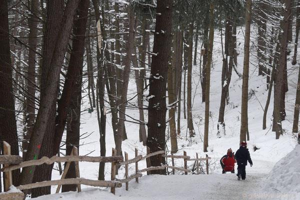 Zejście (właściwie zbiegnięcie) z Góry Parkowej.