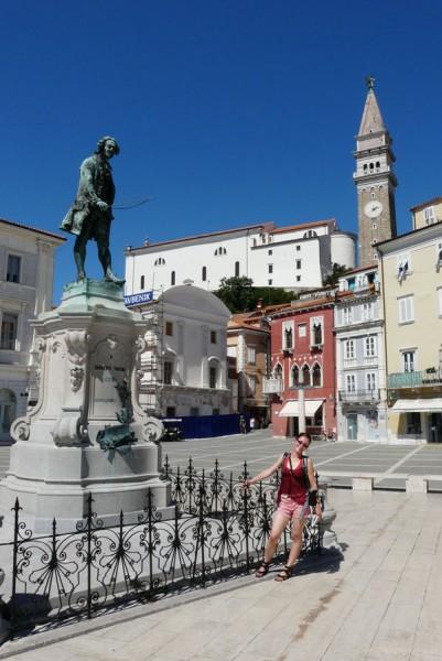 Pomnik Tortiniego - wloskiego skrzypka, Piran.
