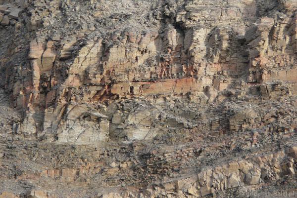 Widać warstwowy układ skał.