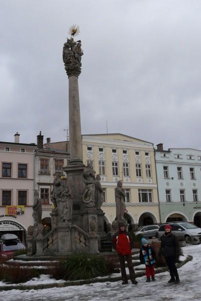 Barokowa kolumna morowa Trójcy Przenajświętszej.