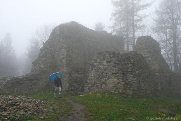 Ruiny zamku (XIV) na Górze Zamkowej w Lanckoronie.