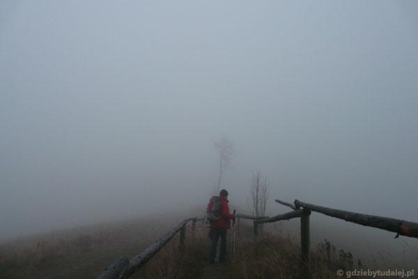 Zmierzch na szlaku do Bacówki na Maciejowej.