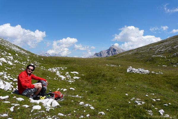 Odpoczynek na przełęczy przed Brunnensteinspitze - koniec ferraty.