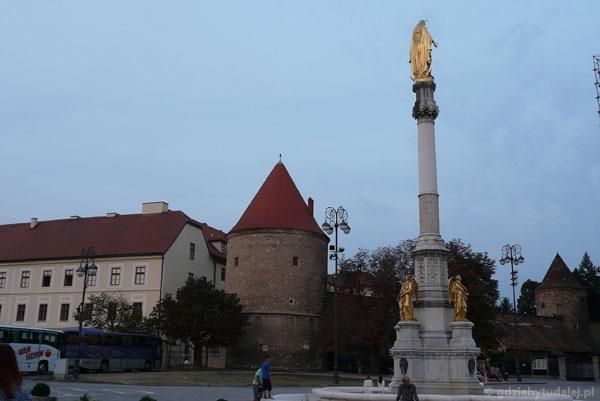 Kolumna Maryjna (XIX w) i pozostałości murów katedry.