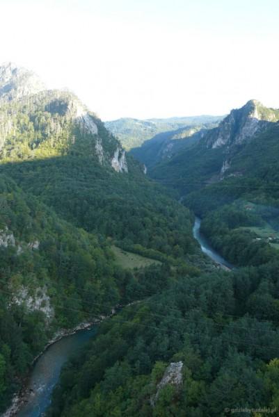 Spojrzenie z mostu na kanion Tary