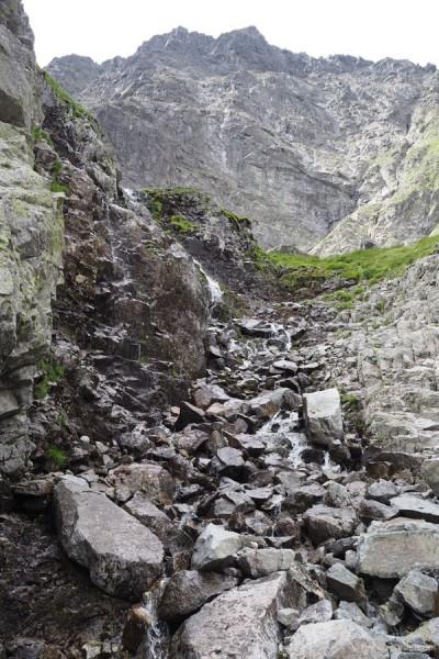 Szlak wspina się wzdłuż potoczku do Bandziocha.