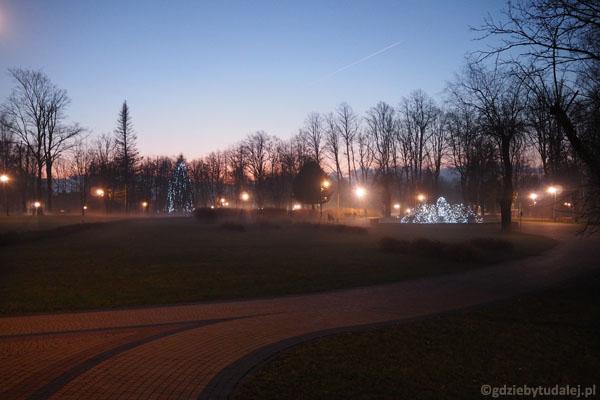 Park zdrojowy wieczorem