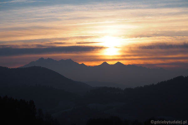 Zachód słońca nad Tatrami