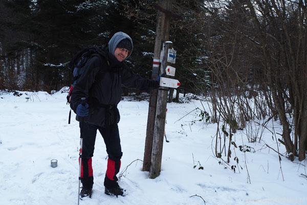 Przełęcz Beskid (644 m n.p.m.). Tu skręcamy w prawo do Izb.