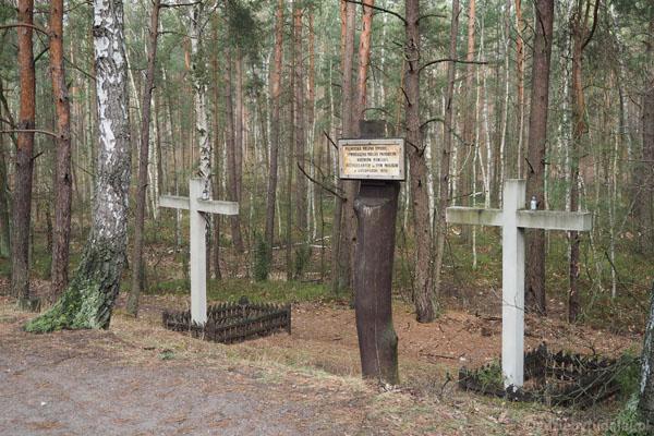 Symboliczne krzyże na Palmirskiej Polanie Śmierci.