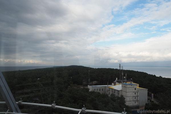 Ze szczytu latarni pięknie widać Mierzeję Wiślaną.
