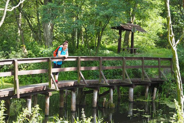 Na drugą stronę Kanału Łasica przeprowadza uroczy drewniany mostek.