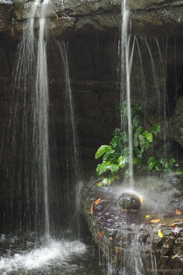 Pod dachem odtworzono nawet wodospady