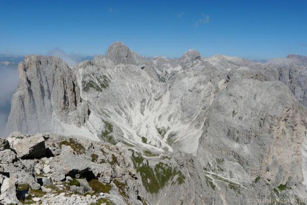 Widok na masyw Catinaccio ze szczytu Roda di Vaél.
