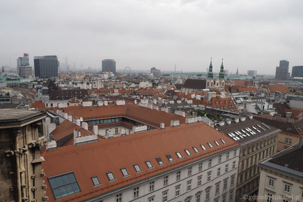 Widok na Wiedeń z Wieży Północnej.