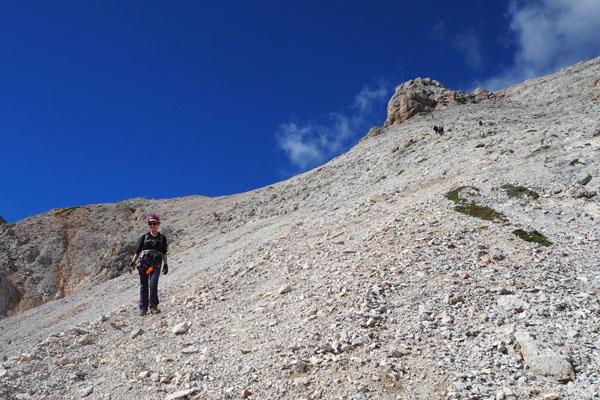 Na przełęczy Forcella Alta opuszczamy ferratę Ivano Dibona.